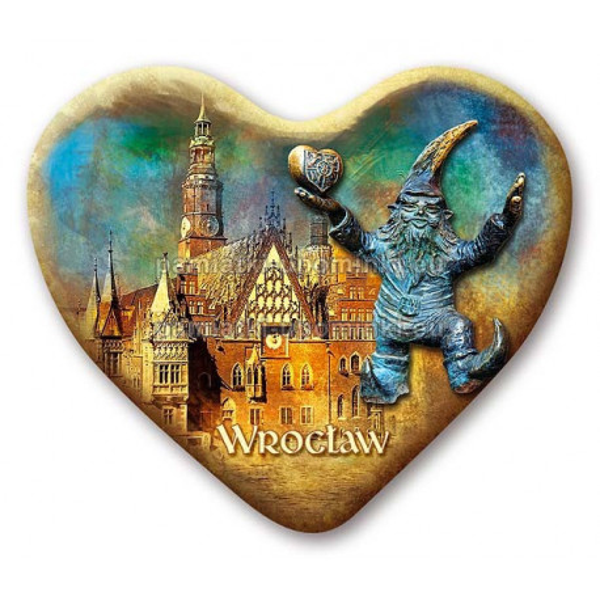 Magnes Wrocław serce - krasnal Wroclovek i Ratusz